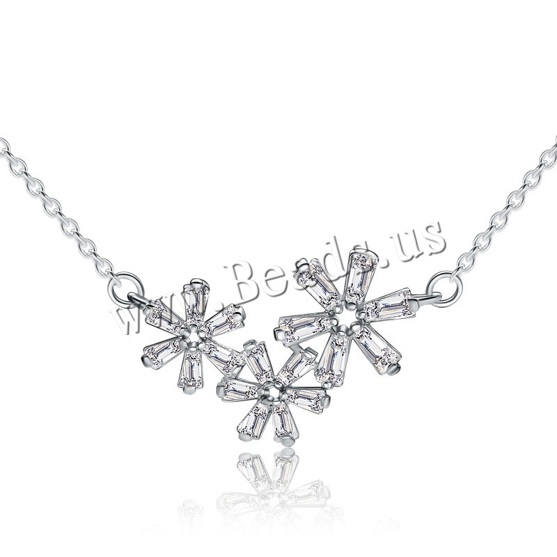 Buy Crystal Necklace 925 Sterling Silver Crystal 2inch extender chain Snowflake platinum plated oval chain & woman & faceted 25x15mm Length:Approx 16 Inch 3Strands/Lot Sold Lot