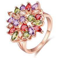 Messing Fingerring, Blume, echtes Rósegold plattiert, verschiedene Größen vorhanden & Micro pave Zirkonia & für Frau, frei von Nickel, Blei & Kadmium, verkauft von PC