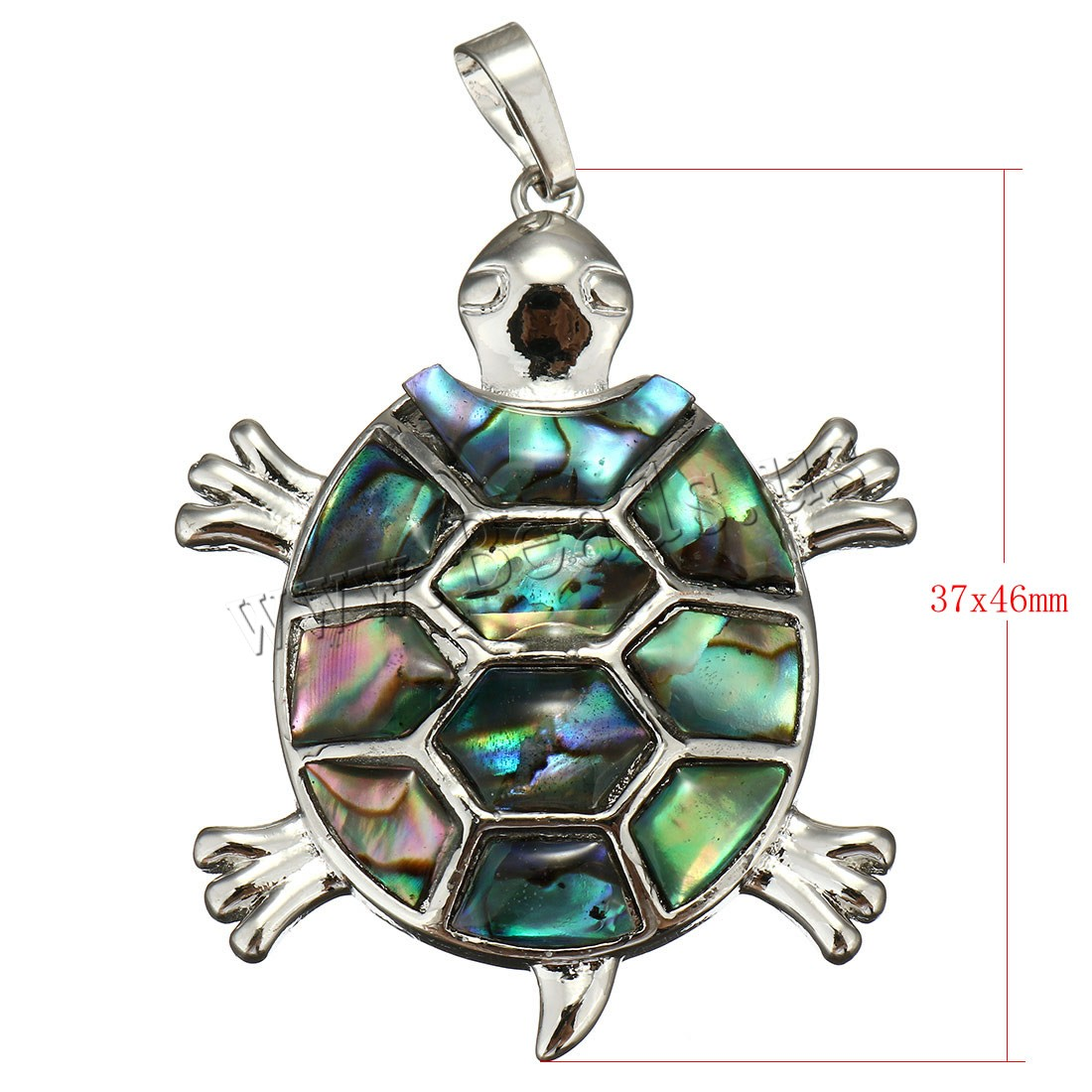 Buy Natural Abalone Shell Pendants Brass Abalone Shell Turtle platinum color plated mosaic 37x46x5mm Hole:Approx 5x8mm Sold PC