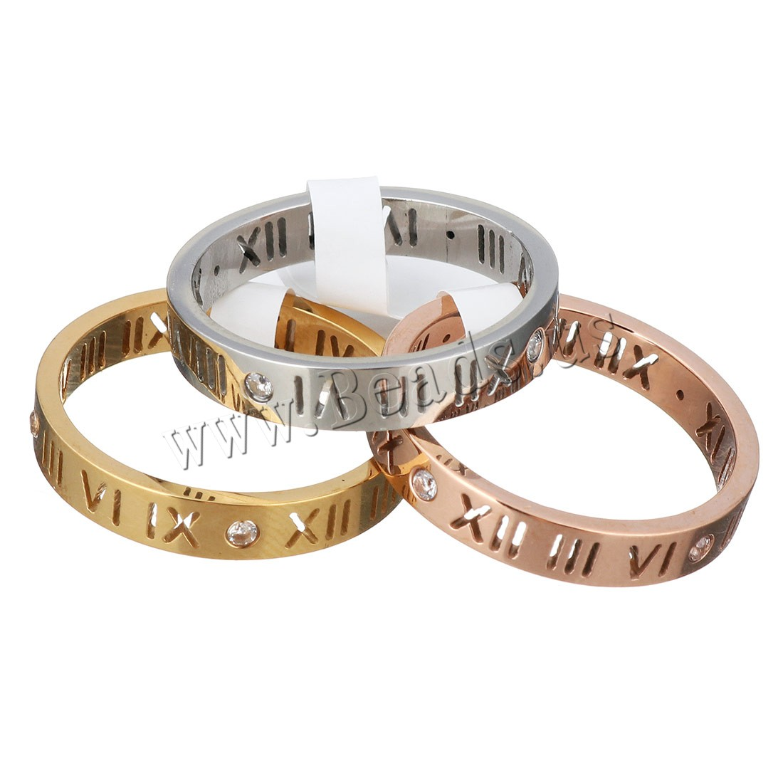 Buy Unisex Finger Ring Stainless Steel plated roman number & rhinestone colors choice 3.50mm US Ring Size:6 Sold PC