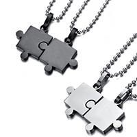 Edelstahl Puzzle Paar Halskette, plattiert, verschiedene Verpackungs Art für Wahl & Kugelkette & für paar, keine, Länge:ca. 20 ZollInch, verkauft von setzen