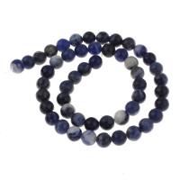 Sodalith Perlen, Sosalith, rund, natürlich, verschiedene Größen vorhanden, Bohrung:ca. 1mm, verkauft per ca. 15 ZollInch Strang