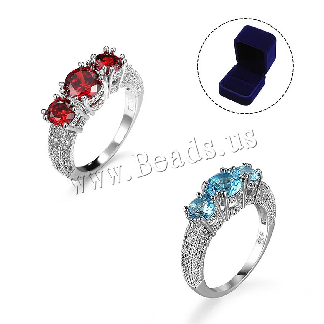 Buy Unisex Finger Ring Brass Velvet box & Cubic Zirconia platinum plated 925 logo & different size choice colors choice nickel lead & cadmium free 46.5-19.5mm 52x60x48mm Sold PC