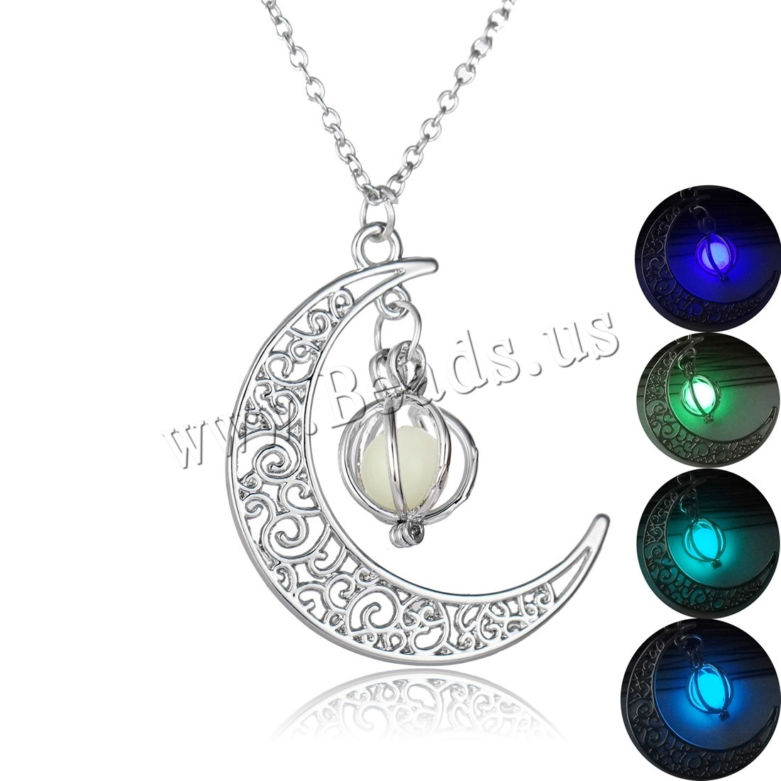 Buy Luminated Necklace Brass iron chain & Amazonite Moon platinum color plated oval chain & woman & hollow colors choice nickel lead & cadmium free 32x35mm Sold Per Approx 17.5 Inch Strand