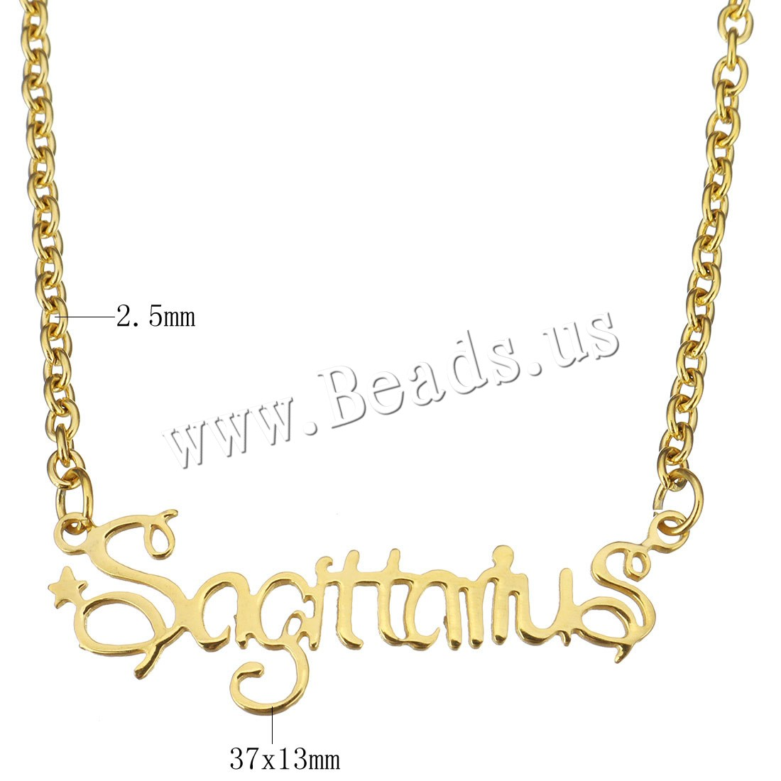 Buy Stainless Steel Jewelry Necklace Letter word sagittarius gold color plated oval chain & woman 37x13mm 2.5mm Sold Per Approx 15 Inch Strand