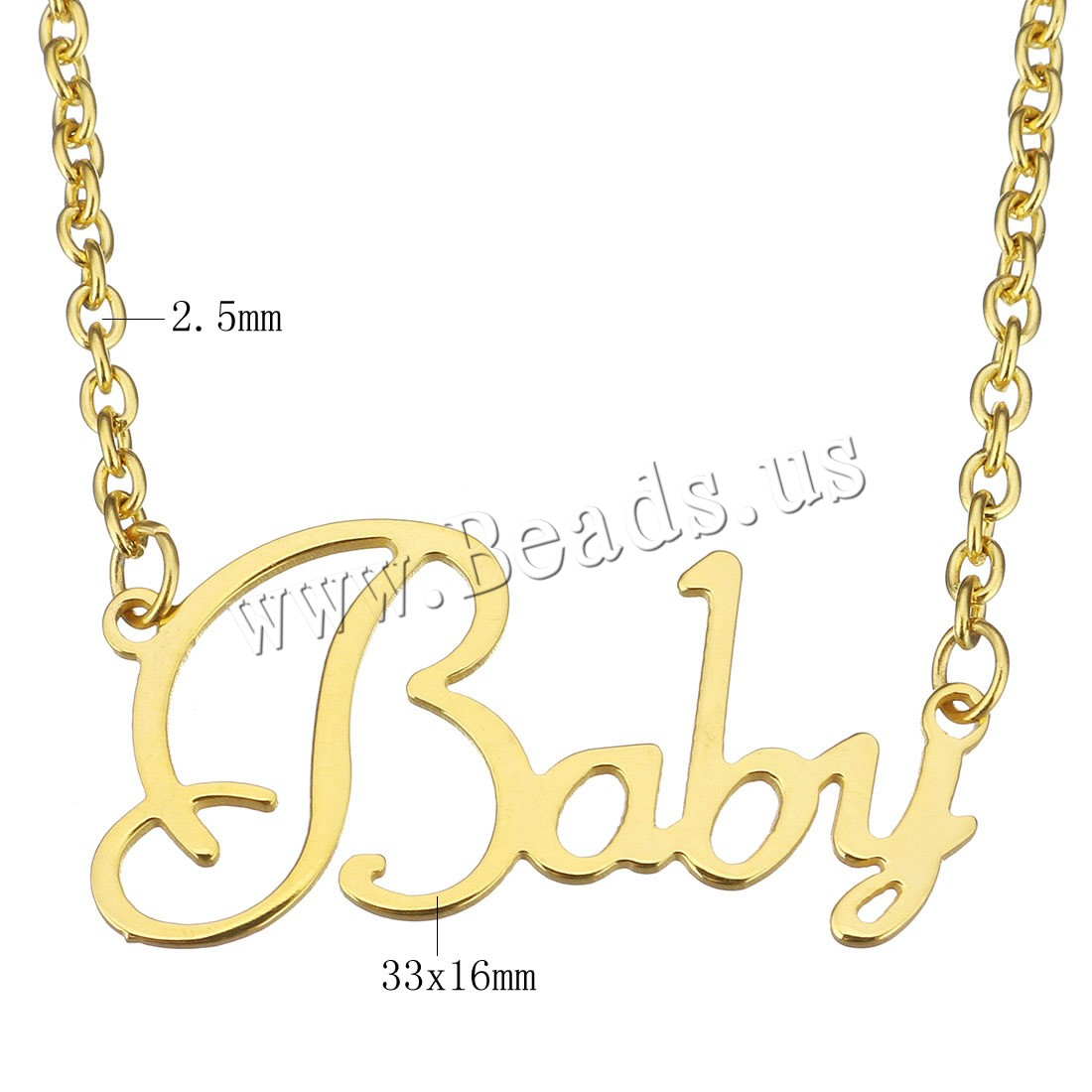 Buy Stainless Steel Jewelry Necklace Letter word baby gold color plated oval chain & woman 33x16mm 2.5mm Sold Per Approx 15 Inch Strand
