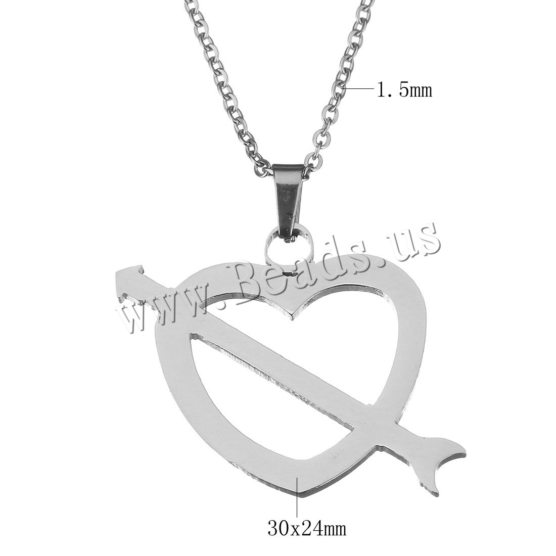 Buy Stainless Steel Jewelry Necklace Heart oval chain & woman original color 30x24mm 1.5mm Sold Per Approx 19 Inch Strand