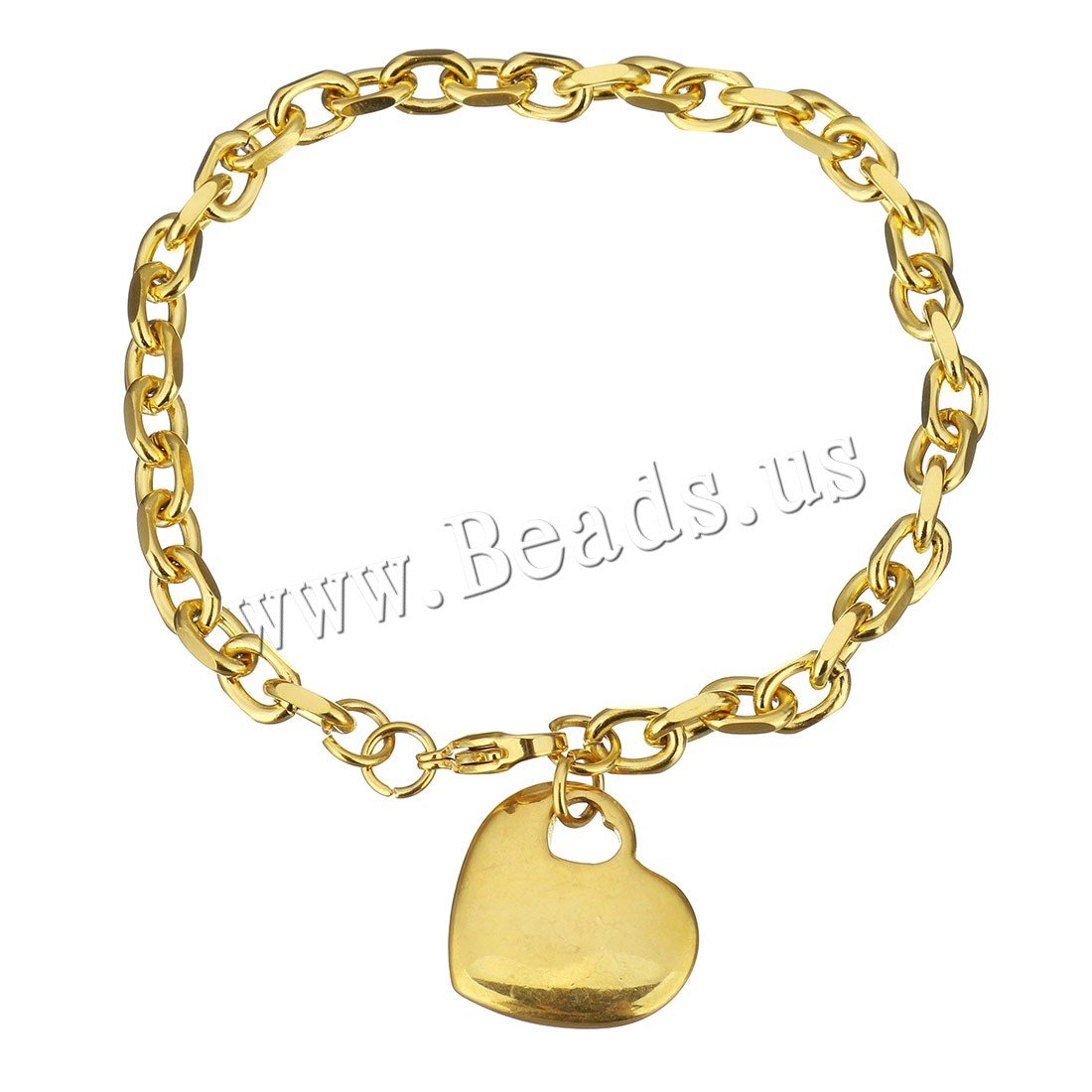 Buy Stainless Steel Jewelry Bracelet Heart gold color plated charm bracelet & curb chain & woman 20x19mm 5mm Sold Per Approx 15.6 Inch Strand