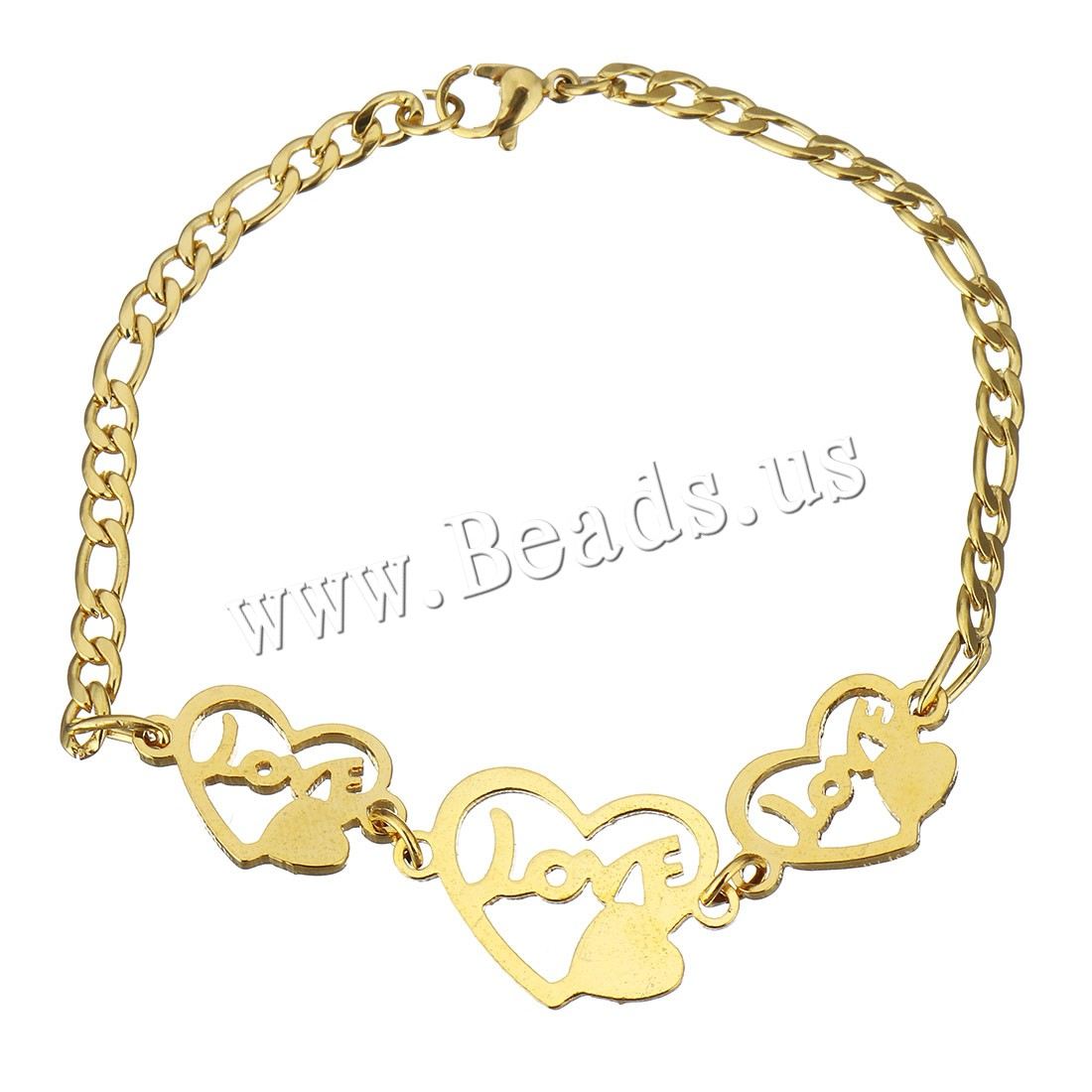 Buy Stainless Steel Jewelry Bracelet Heart word love gold color plated curb chain & woman 23x15mm 19x12mm 4mm Sold Per Approx 7.5 Inch Strand
