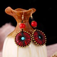 Türkis Ohrring, Messing, mit Synthetische Türkis, goldfarben plattiert, für Frau, keine, 29x62mm, verkauft von Paar