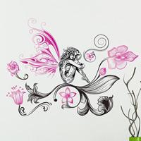 Wand-Sticker, PVC Kunststoff, Blume, Klebstoff & wasserdicht, 380x580mm, verkauft von PC