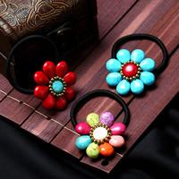 Elastisches Haarband, elastische Nylonschnur, mit Synthetische Türkis & Messing, Blume, goldfarben plattiert, für Frau, keine, 100mm, verkauft von PC