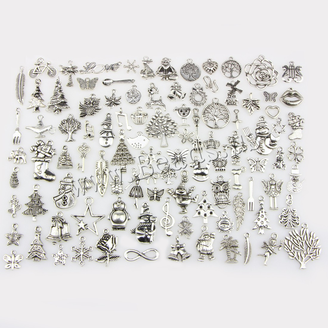 Buy Zinc Alloy Christmas Pendants antique silver color plated Christmas jewelry & mixed nickel lead & cadmium free 13-33mm Hole:Approx 0.5-1mm 100PCs/Set Sold Set