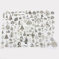 Zinklegierung Weihnachten Anhänger, antik silberfarben plattiert, Weihnachtsschmuck & gemischt, frei von Nickel, Blei & Kadmium, 13-33mm, Bohrung:ca. 0.5-1mm, 100PCs/setzen, verkauft von setzen