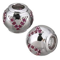 Zirkonia Micro Pave Messing Europa Bead, Trommel, platiniert, Micro pave Zirkonia & ohne troll, 11.50x10x11.50mm, Bohrung:ca. 4.5mm, 10PCs/Menge, verkauft von Menge