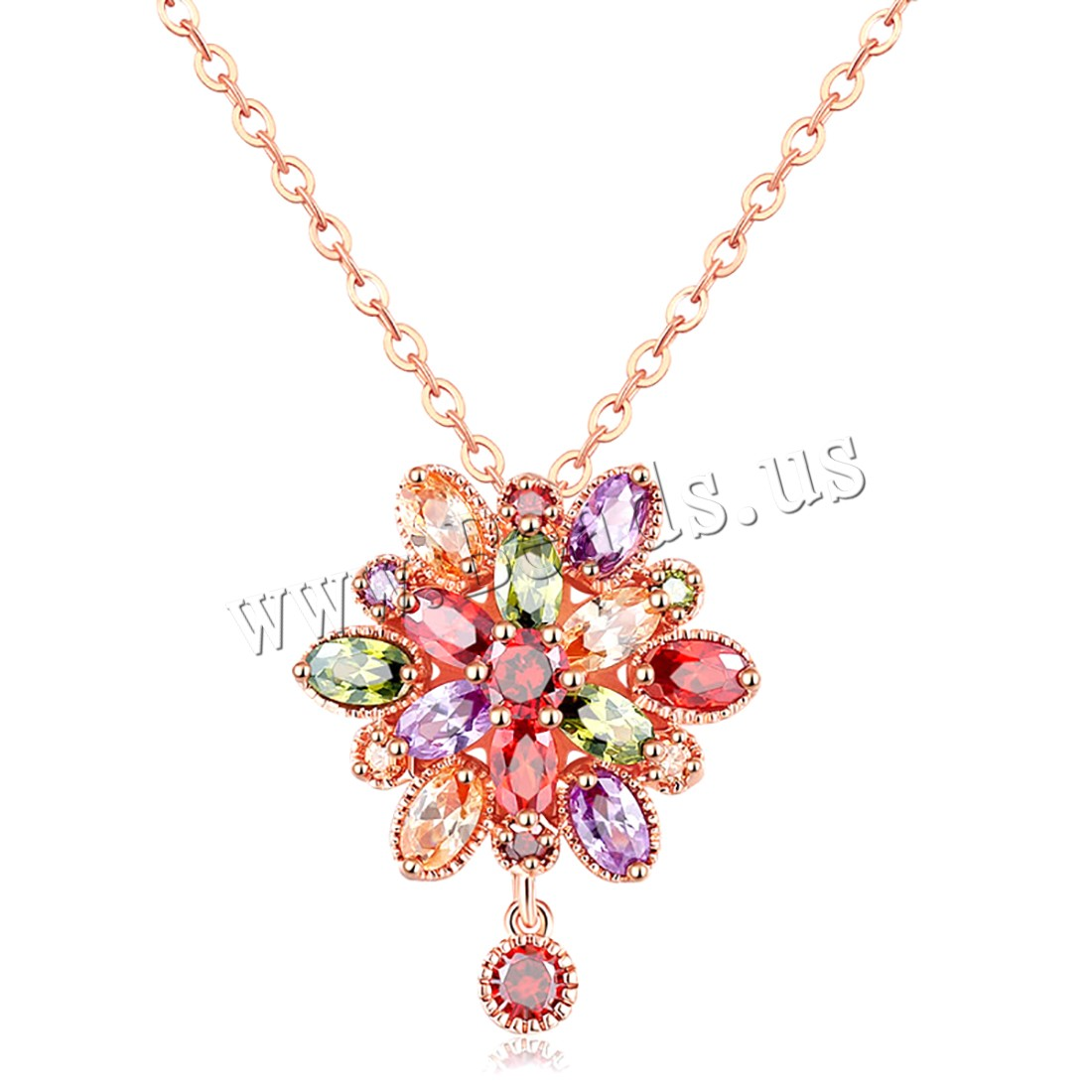 Buy Brass Necklace 1.9inch extender chain Flower real rose gold plated oval chain & micro pave cubic zirconia & woman nickel lead & cadmium free 21x25mm Sold Per Approx 17.7 Inch Strand