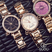 GUOU® Unisex Schmuckuhr, Zinklegierung, mit Glas & Edelstahl, plattiert, für Frau, keine, 30x8mm, Länge:ca. 7.5 ZollInch, verkauft von PC