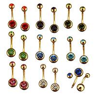 Edelstahl -Bauch-Ring, goldfarben plattiert, für Frau & mit Strass, keine, 8x22.5x7.5mm, 1.6mm, verkauft von PC