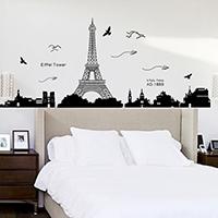 Wand-Sticker, PVC Kunststoff, Klebstoff & mit Eiffelturm-Muster & mit Brief Muster & wasserdicht, 600x900mm, verkauft von setzen