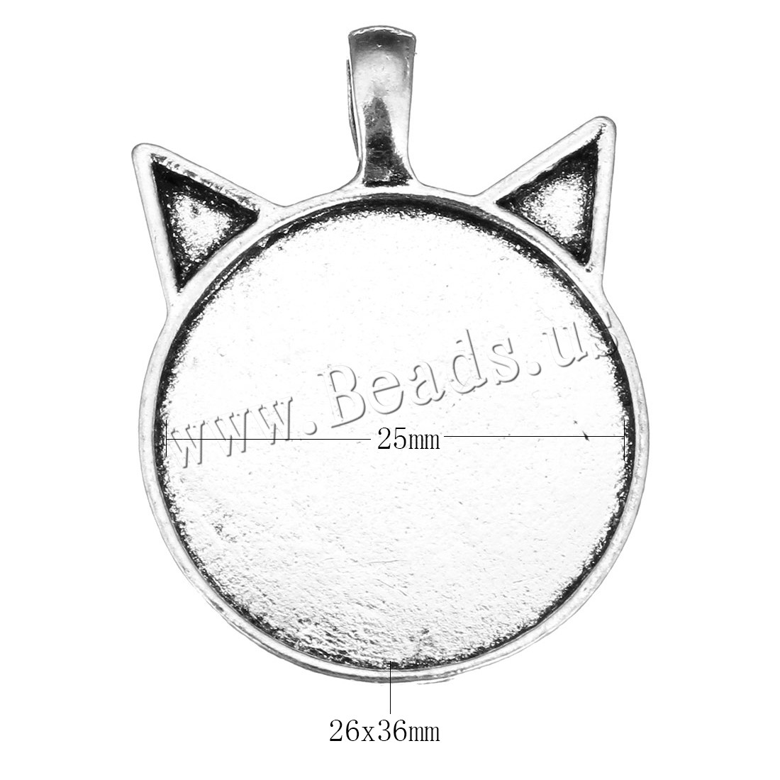 Buy Zinc Alloy Pendant Rhinestone Setting antique silver color plated nickel lead & cadmium free 26x36x6mm Hole:Approx 3x5mm Inner Diameter:Approx 25mm 10 Sold Lot