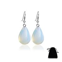 Opal Ohrringe, Messing Haken, Tropfen, Platinfarbe platiniert, für Frau, 13x38mm, verkauft von Paar