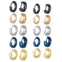Huggie Ohrreifen, Edelstahl, plattiert, unisex & verschiedene Größen vorhanden, 11x10x4mm, 0.8mm, 13x12x4mm, 0.8mm, 11x10x2mm, 0.8mm, 13.5x12.5x2mm, 0.8mm, verkauft von Paar