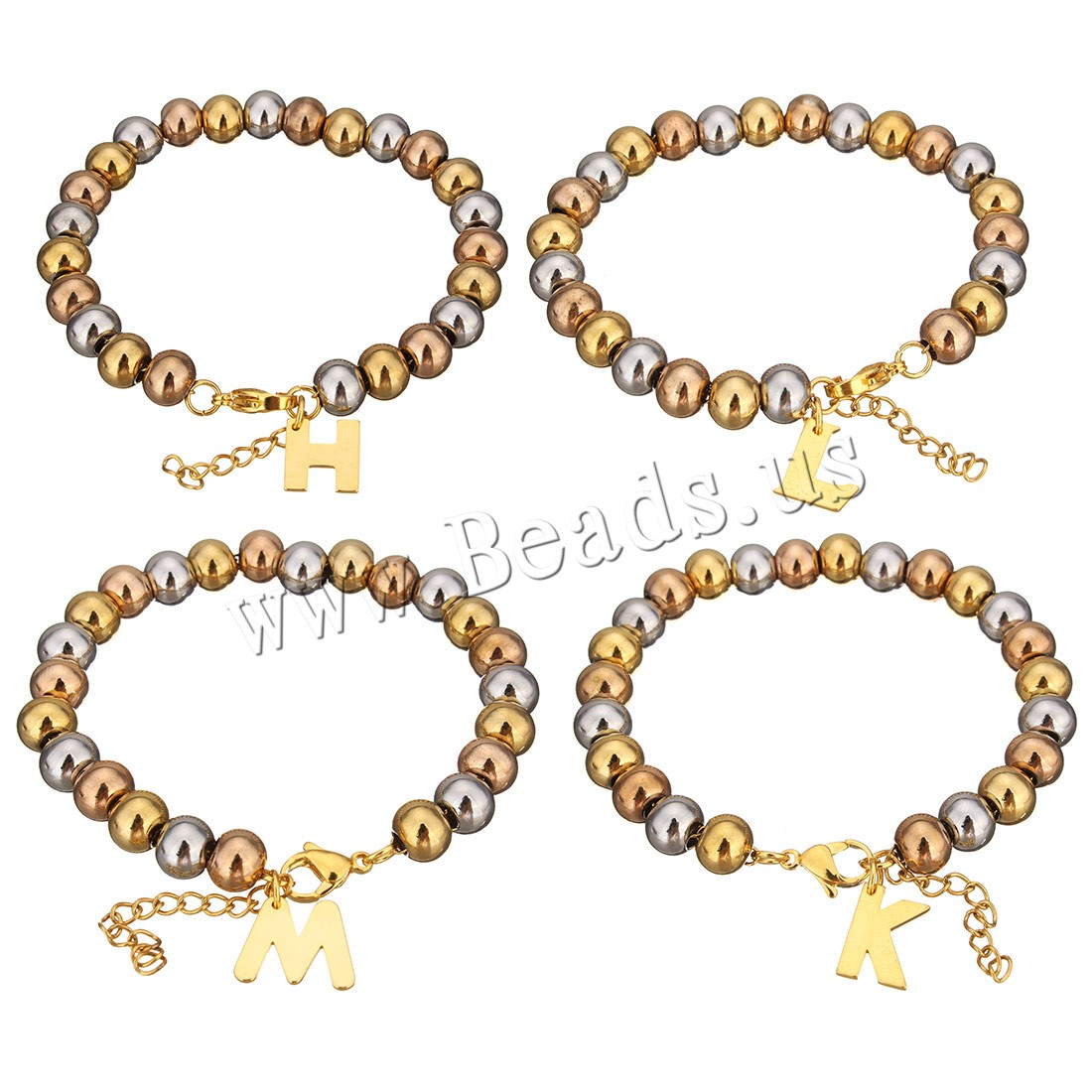 Buy Stainless Steel Jewelry Bracelet 1.5Inch extender chain Letter plated charm bracelet & beaded bracelet & different styles choice & woman 5-14x2-14mm 6x8mm Sold Per Approx 7 Inch Strand