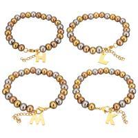 Edelstahl Schmuck Armband, mit Verlängerungskettchen von 1.5Inch, Buchstabe, plattiert, Armband  Bettelarmband & Perlen Armband & verschiedene Stile für Wahl & für Frau, 5-14x2-14mm, 6x8mm, verkauft per ca. 7 ZollInch Strang