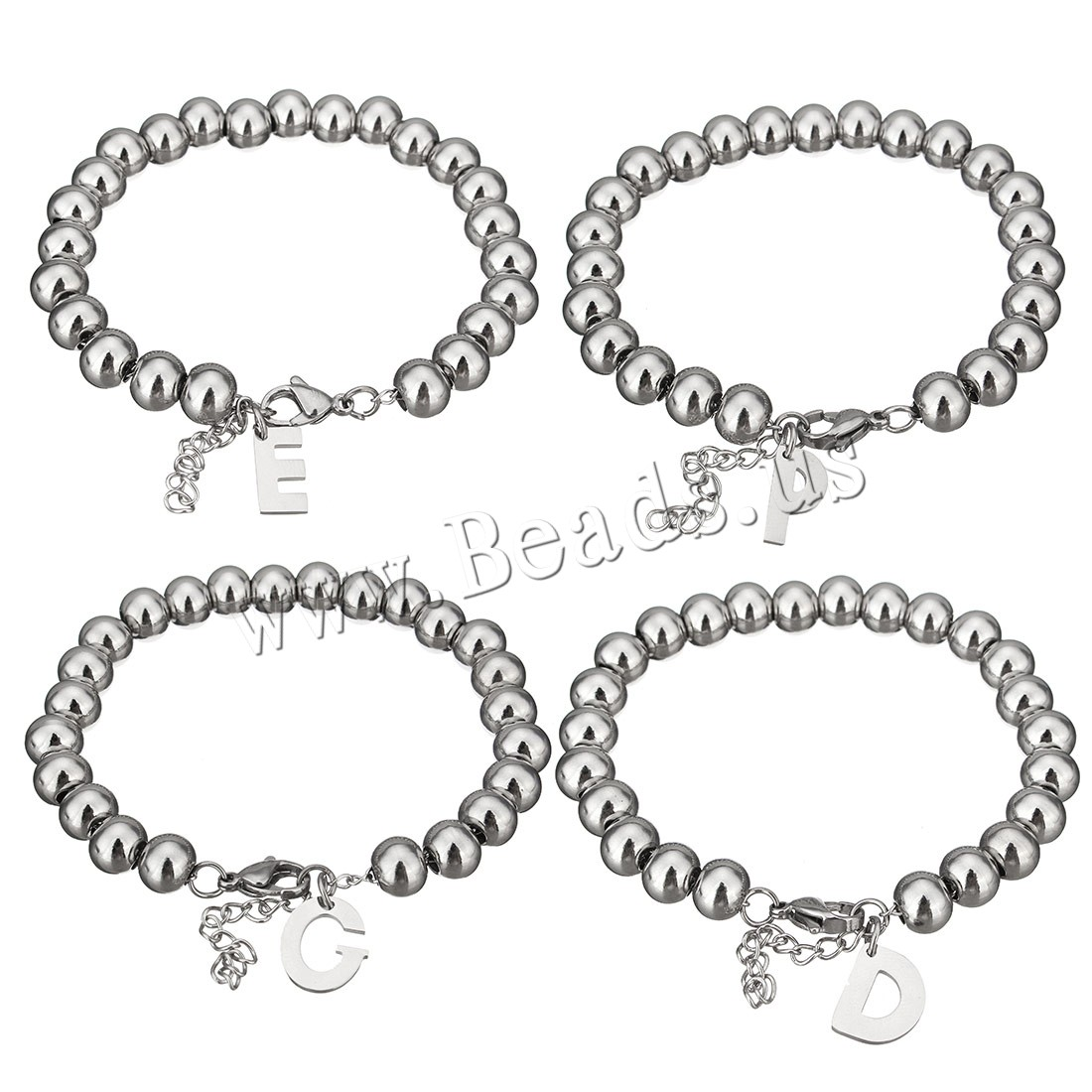 Buy Stainless Steel Jewelry Bracelet 1.5Inch extender chain Letter letters Z & charm bracelet & beaded bracelet & woman original color 5-14x9-14mm 6x8mm Sold Per Approx 7 Inch Strand