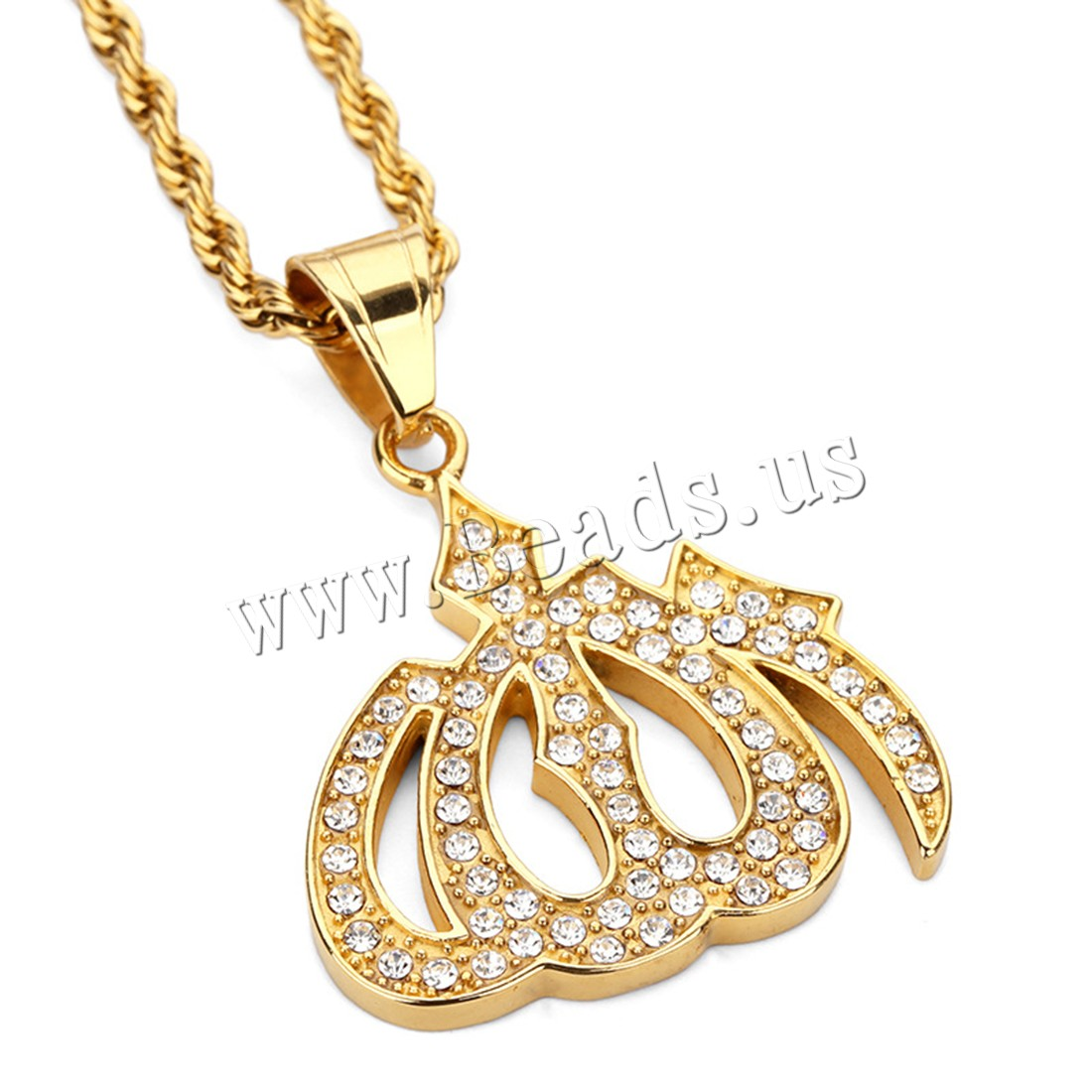 Buy Stainless Steel Sweater Necklace Lamp Aladdin gold color plated Unisex & rope chain & rhinestone 30x30mm 2.8mm Sold Per Approx 23.5 Inch Strand