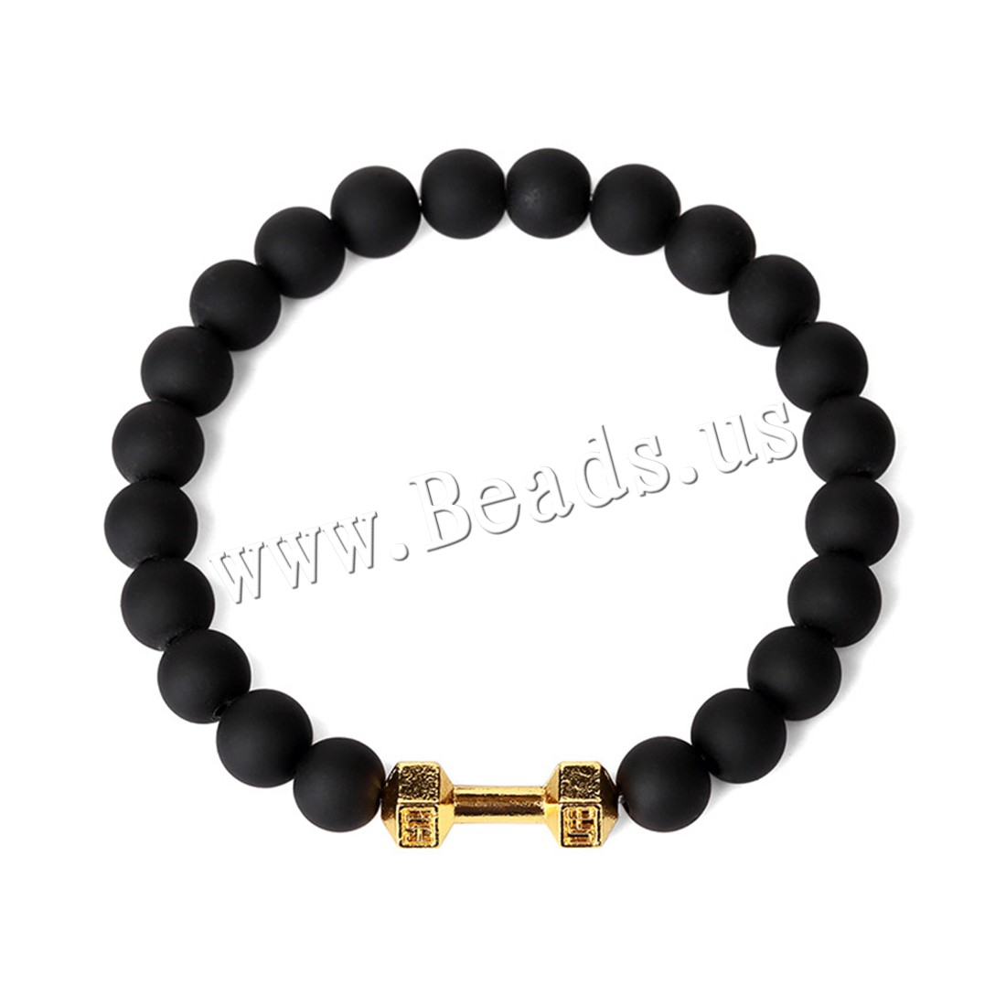 Buy Unisex Bracelet Rubber Zinc Alloy gold color plated beaded bracelet 20x8mm 8mm Sold Per Approx 7.8 Inch Strand