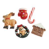 Weihnachten Cabochon, Harz, Weihnachtsschmuck & gemischt & Volltonfarbe, 21x20x3mm-32x22x5mm, 10PCs/Tasche, verkauft von Tasche