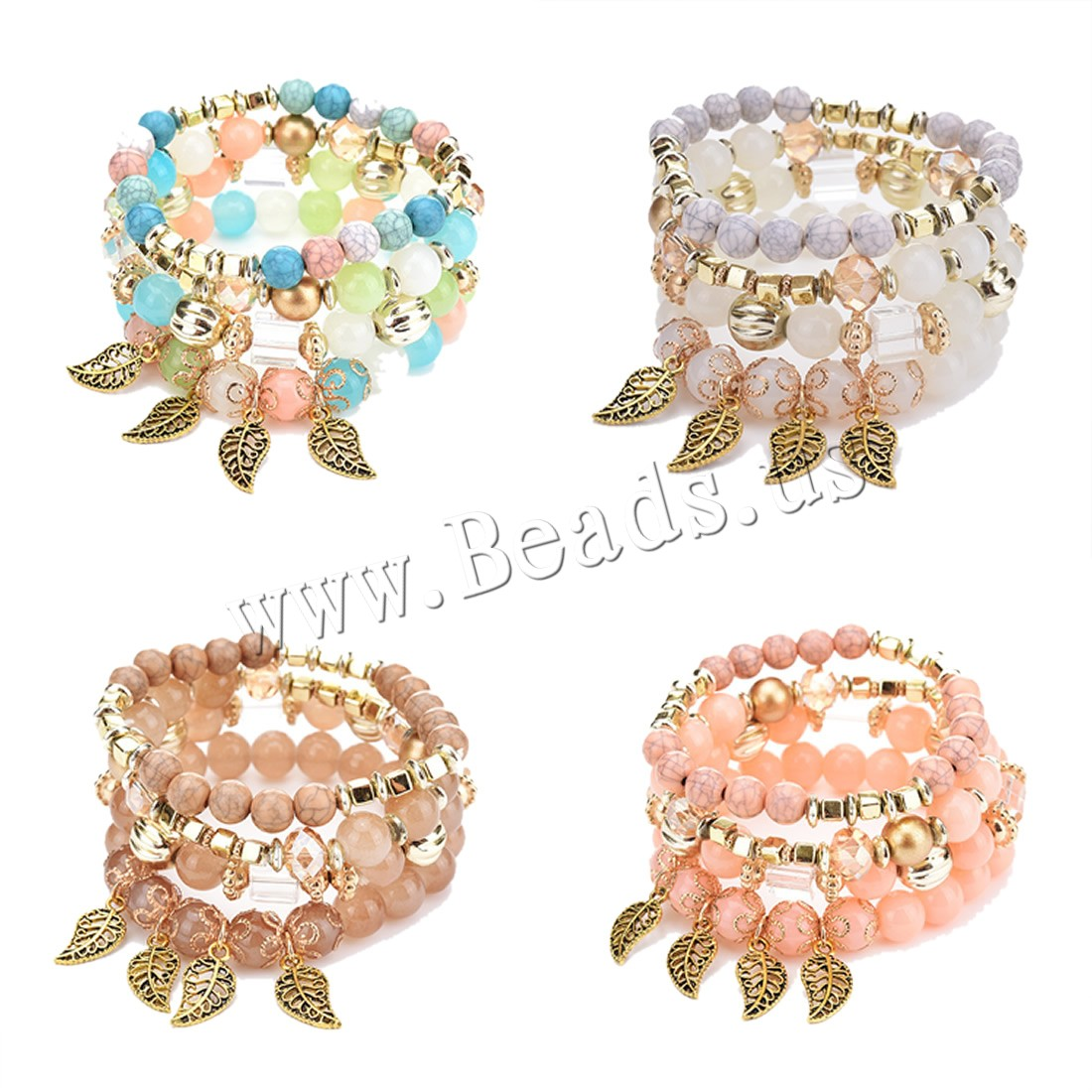 Buy CCB Bracelets Zinc Alloy Crystal & Copper Coated Plastic gold color plated woman & faceted colors choice lead & cadmium free 60-80mm Length:Approx 6-8 Inch Sold Pair