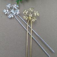 Haarstock-Befunde, Messing, Blume, plattiert, keine, frei von Nickel, Blei & Kadmium, 36mm, 10PCs/Tasche, verkauft von Tasche
