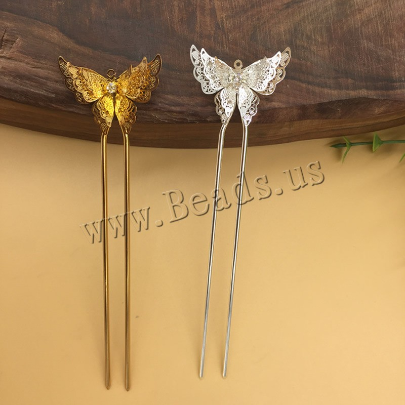 Buy Hair Stick Findings Brass Iron Butterfly plated rhinestone colors choice nickel lead & cadmium free 25x35mm 10PCs/Bag Sold Bag
