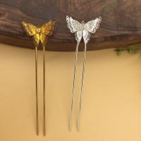 Haarstock-Befunde, Messing, mit Eisen, Schmetterling, plattiert, mit Strass, keine, frei von Nickel, Blei & Kadmium, 25x35mm, 10PCs/Tasche, verkauft von Tasche