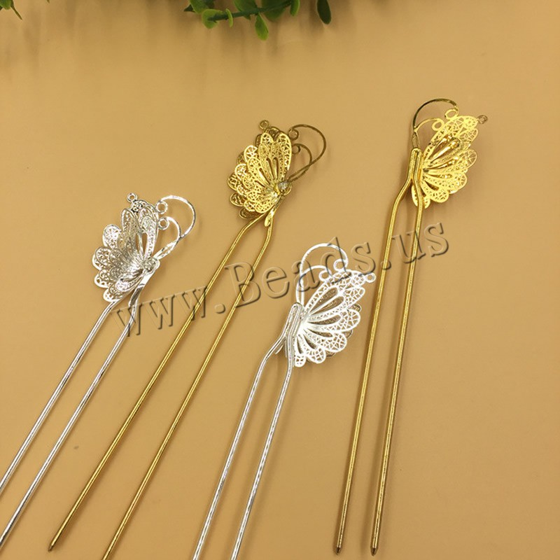 Buy Hair Stick Findings Brass Iron Butterfly plated colors choice nickel lead & cadmium free 25x40mm 10PCs/Bag Sold Bag