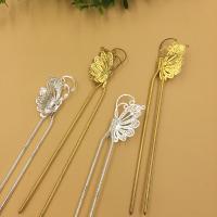 Haarstock-Befunde, Messing, mit Eisen, Schmetterling, plattiert, keine, frei von Nickel, Blei & Kadmium, 25x40mm, 10PCs/Tasche, verkauft von Tasche