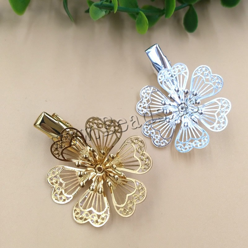 Buy Hair Clip Findings Brass Iron Flower plated colors choice nickel lead & cadmium free 32x35mm 10PCs/Bag Sold Bag