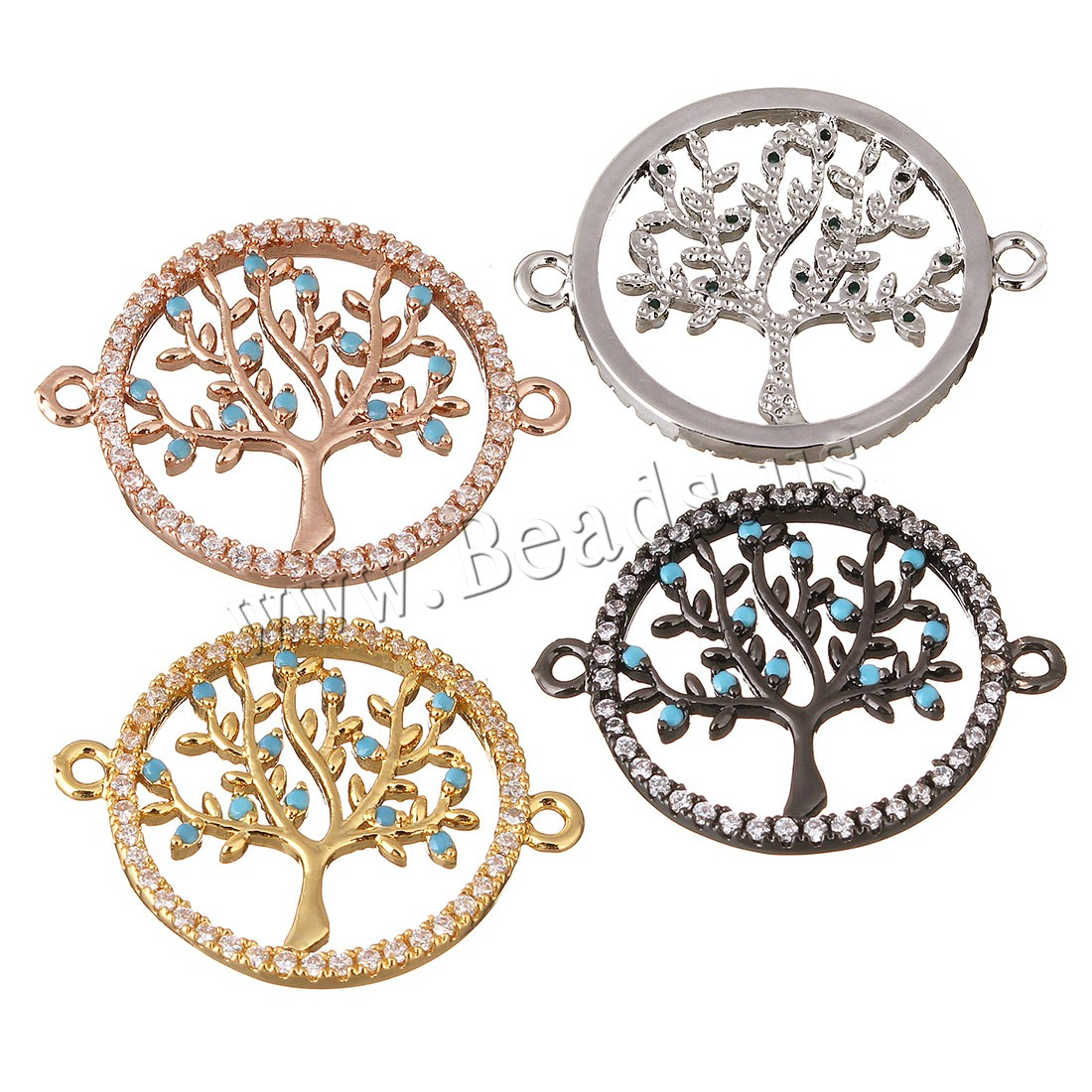 Buy Brass Jewelry Connector Tree plated micro pave cubic zirconia & 1/1 loop colors choice 25x20x2mm Hole:Approx 1mm 1 Sold Lot