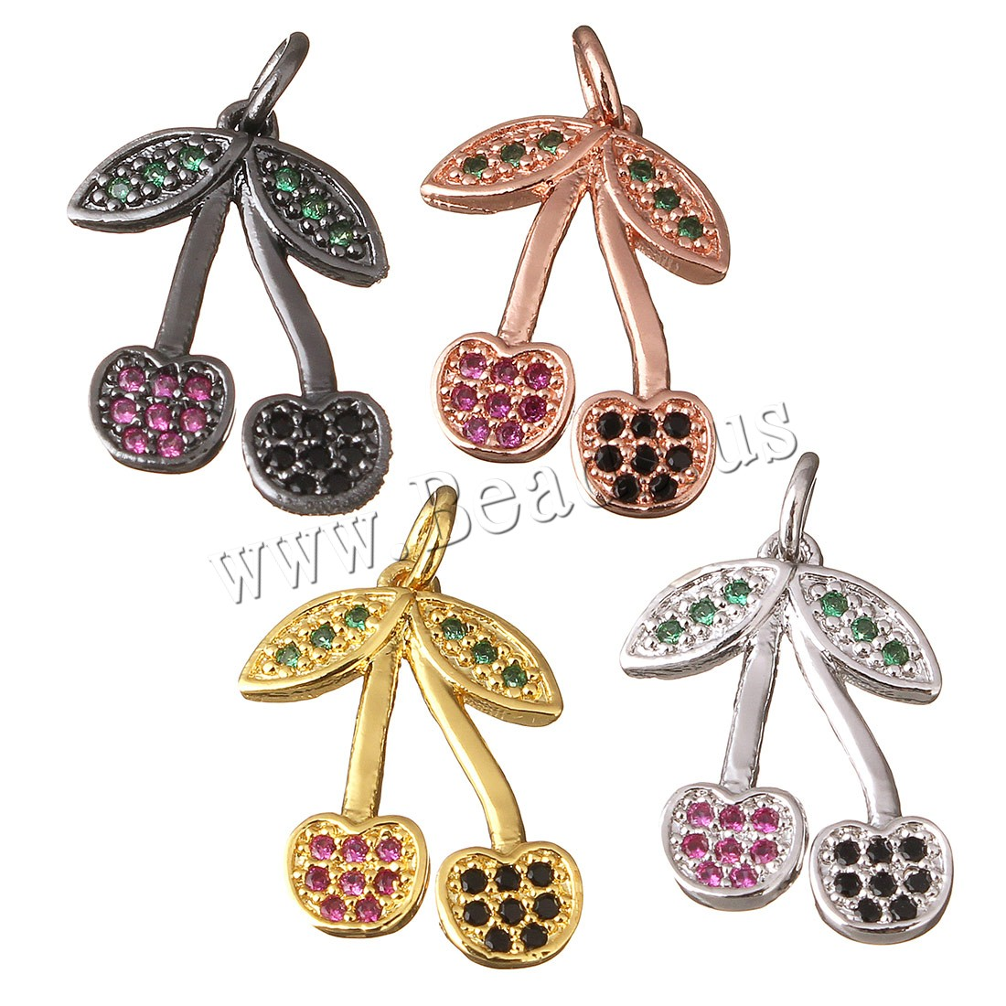 Buy Cubic Zirconia Micro Pave Brass Pendant Cherry plated micro pave cubic zirconia colors choice 13x18x1.50mm Hole:Approx 3mm 1 Sold Lot