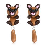 Polymer Ton Cartoon-Split-Ohrring, Edelstahl Stecker, Hund, für Frau, 16x47mm, verkauft von Paar