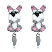 Polymer Ton Cartoon-Split-Ohrring, Edelstahl Stecker, Hund, für Frau, 15x45mm, verkauft von Paar