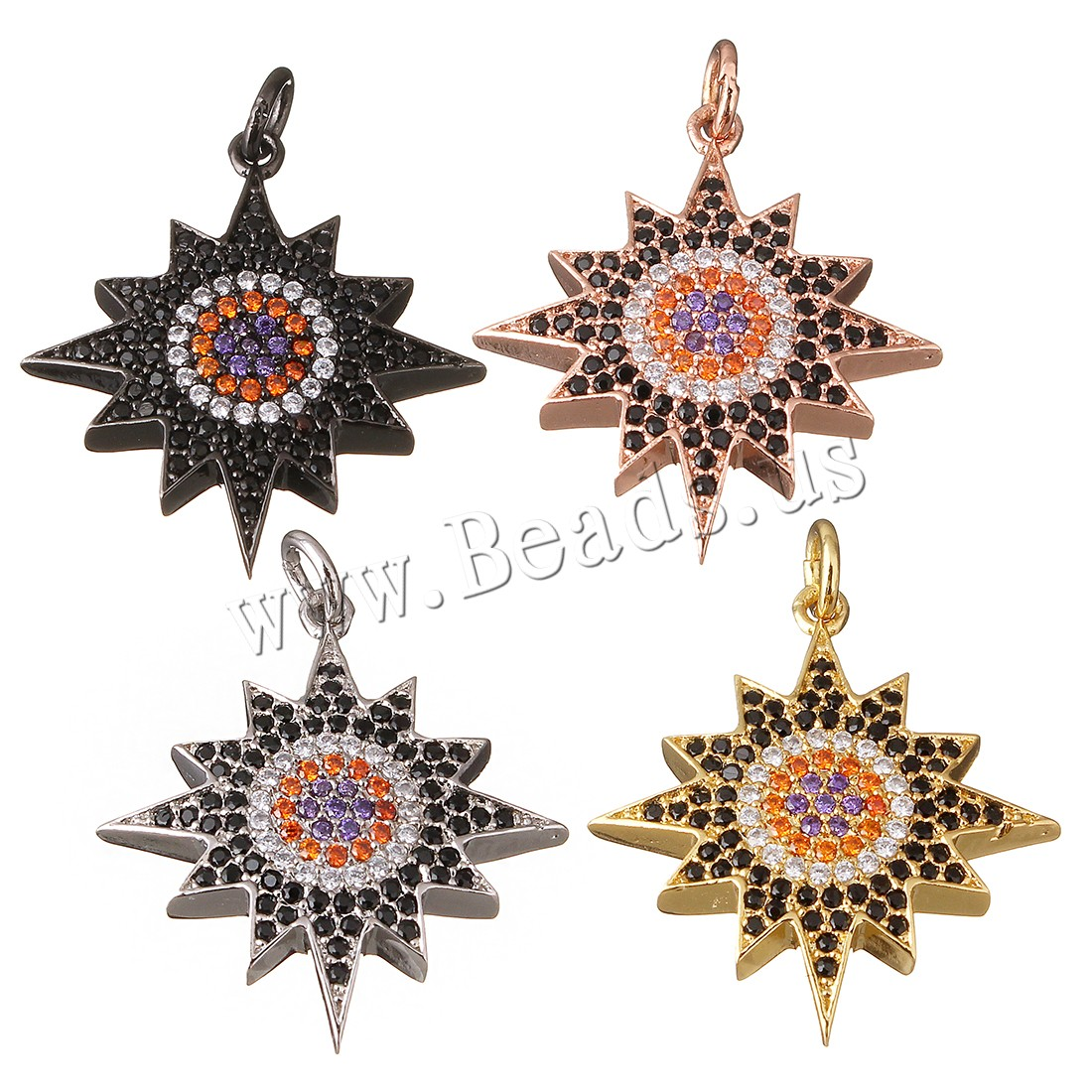 Buy Cubic Zirconia Micro Pave Brass Pendant Flower plated micro pave cubic zirconia colors choice 22x24x4mm Hole:Approx 3mm 1 Sold Lot