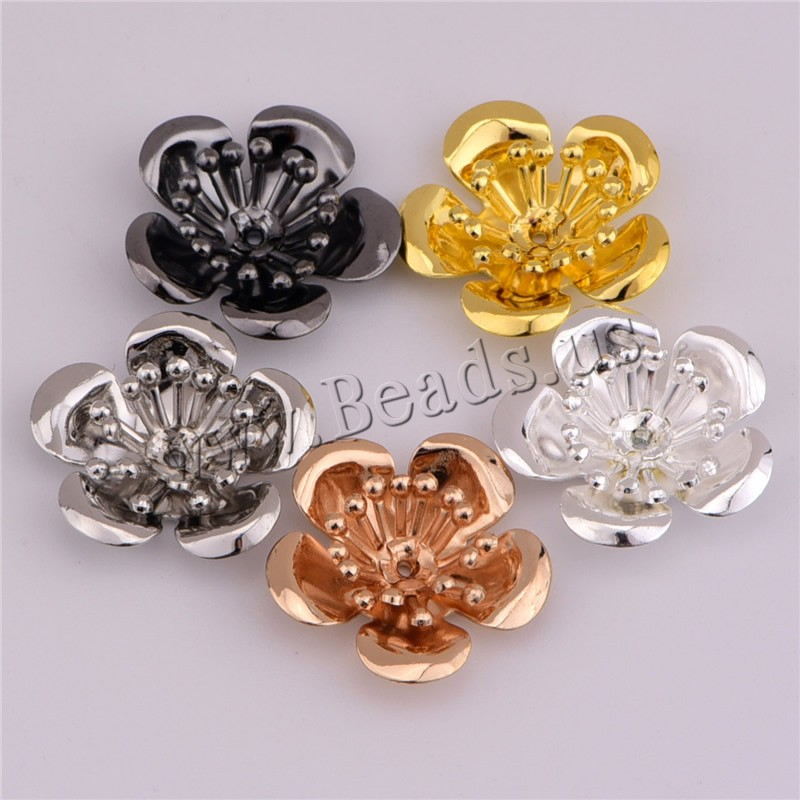 Buy Brass Bead Cap Flower plated Random Color nickel lead & cadmium free 17x0.4mm Hole:Approx 1mm 100PCs/Bag Sold Bag