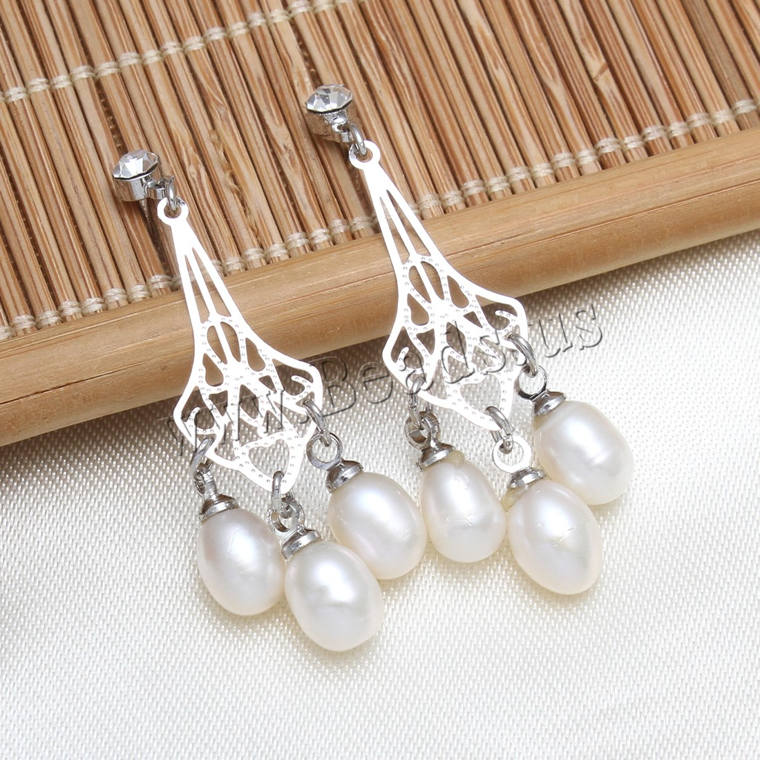 Buy Freshwater Pearl Earrings Rhinestone brass post pin platinum color plated white 6-7mm 39-42mm Sold Pair