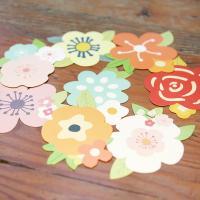Grußkarte, Papier, Blume, gemischte Farben, 100mm, 10PCs/Tasche, verkauft von Tasche