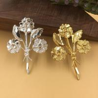 Haarklammer Zubehör, Eisen, Blume, plattiert, keine, frei von Blei & Kadmium, 44x48mm, 100PCs/Tasche, verkauft von Tasche