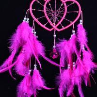 Fashion Dreamcatcher, Feder, mit ABS-Kunststoff-Perlen & Nylonband & Glas-Rocailles & Eisen, Herz, mit Glocke, Fuchsia, 500mm, verkauft von PC