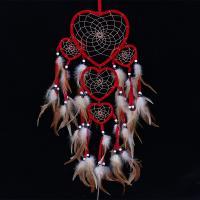 Fashion Dreamcatcher, Feder, mit ABS-Kunststoff-Perlen & Nylonband & Glas-Rocailles, Herz, rot, 170x750mm, verkauft von PC
